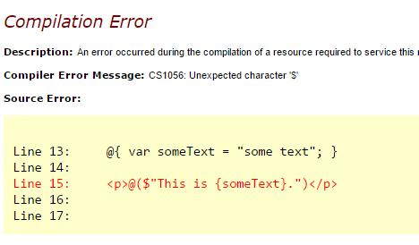 Interpolated String Runtime Error in ASP.NET MVC 5, Image by Dustin Moris Gorski