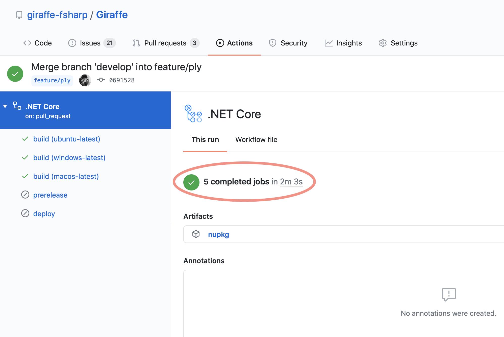 GitHub Action Build time for Giraffe