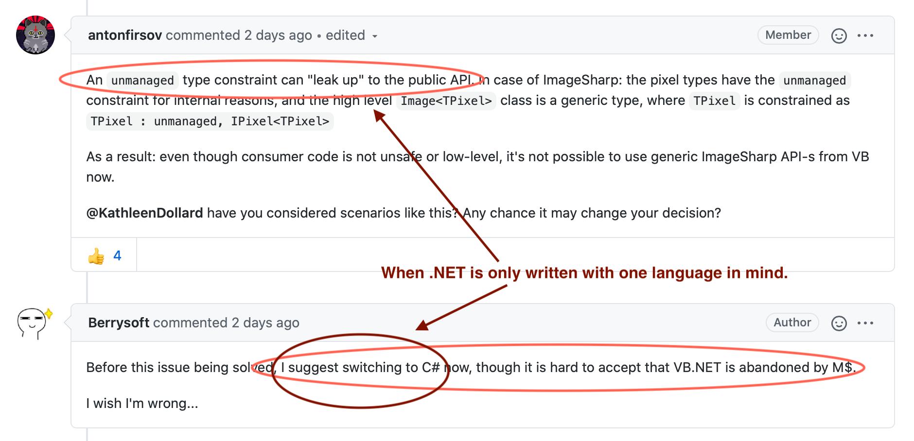 C# unmanaged constraint language leak