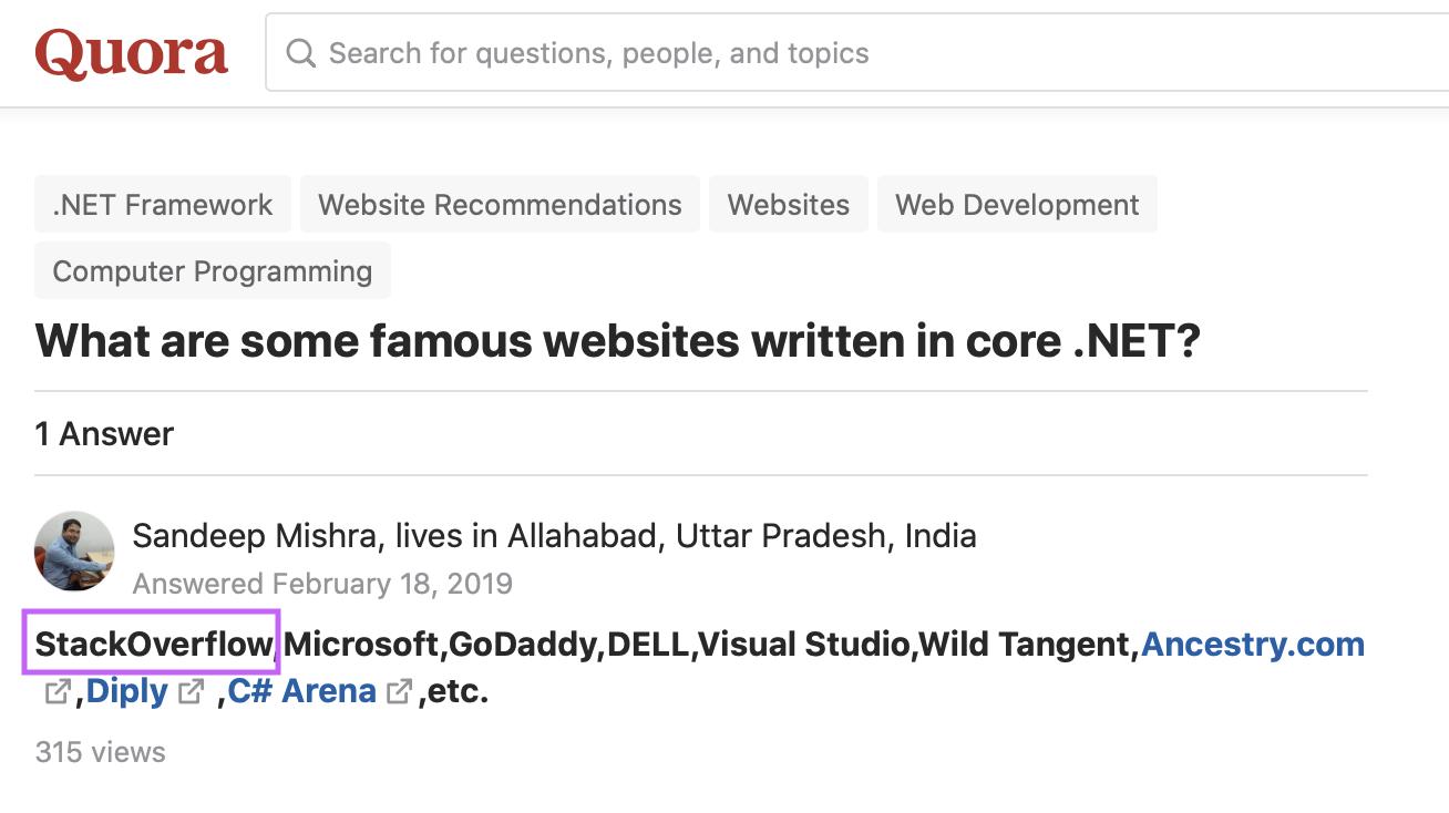 Famous .NET website question on Quora